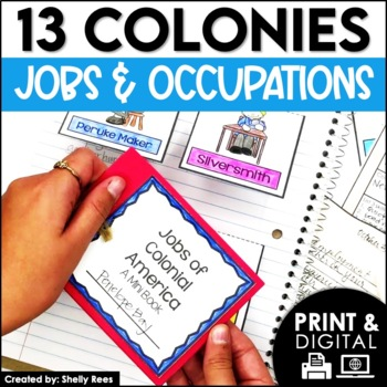 13 Colonies - Colonial America Jobs Interactive Notebook a