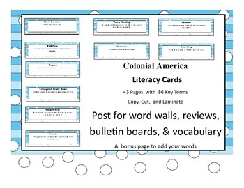 Colonial America Common Core Aligned Literacy Cards 43 Pages