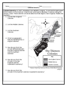 13 Colonies Map Worksheet with Answer Key by JMR History | TpT