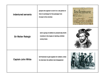 Colonial America Matching Cards