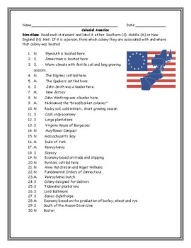 Colonial America: N/E, Southern, Middle Colonies Labeling Worksheet with Key