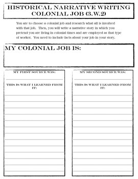 Colonial America Narrative Writing
