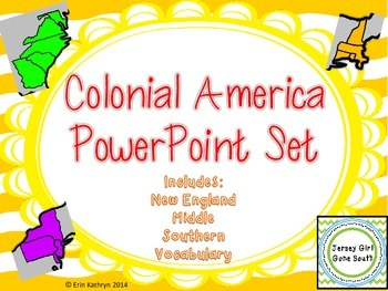 Colonial America New England Middle Southern Colonies PowerPoint and Notes Set