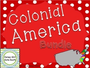 Colonial America New England Middle Southern Colonies Unit Bundle