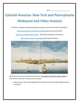 Colonial America- New York and Pennsylvania- Webquest and Video Analysis