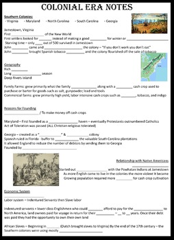 Colonial America 13 Colonies Notes w/ PPT and Map - all editable