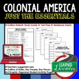 Colonial America Outline Notes, 13 Colonies Bullet Notes, Unit Review