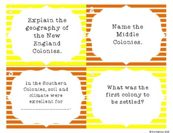 Colonial America Review Task Cards - Set of 24