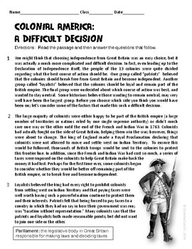 Colonial America:  Revolutionary War ELA Informational Reading Test Prep Passage