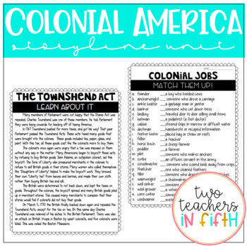 Colonial America Storyline Unit