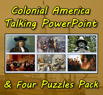 Colonial America Talking PowerPoint & Four Puzzle Pack