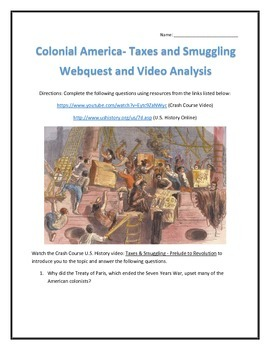 Colonial America- Taxes and Smuggling- Webquest and Video Analysis