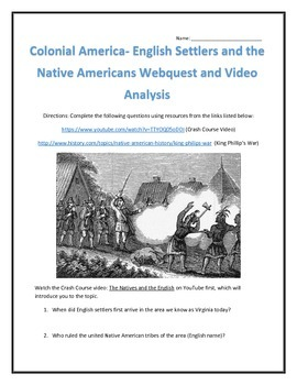 Colonial America- The English and Native Americans -Webquest and Video Analysis