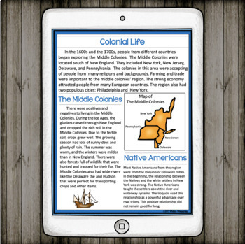 Colonial America: The Middle Colonies Informational Text and Activites
