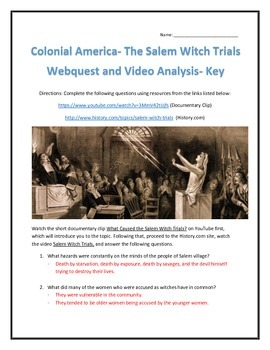 Colonial America- The Salem Witch Trials- Webquest and Video Analysis with Key
