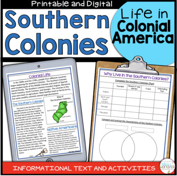 Colonial America: The Southern Colonies Informational Text and Activities