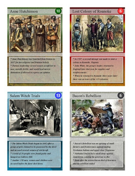 Colonial America Trading Cards, Bingo/Slideshow and Puzzle Combo