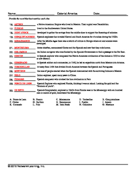 Colonial America US History Vocabulary Worksheet Collection