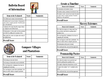 Colonial America Unit Project/Activity Choices