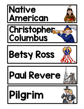Engage NY Grade 1 Colonial America Vocabulary, Word Wall Cards