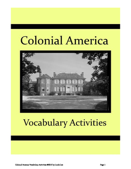 Colonial America Vocabulary Activities