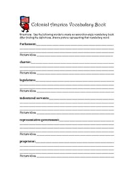 Colonial America Vocabulary Book