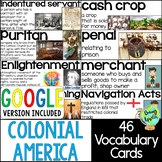 Colonial America Vocabulary Cards, Word Wall; Distance Lea