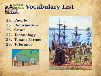 Colonial America - Unit Vocabulary Exercise