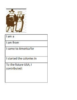 Colonial America: Who Am I?  (Graphic Organizers)