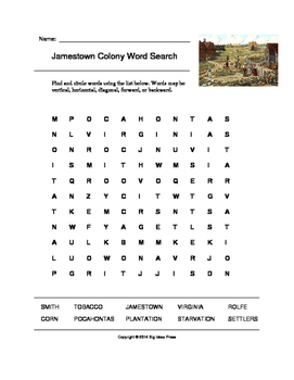 jamestown colony word search grades 4 5