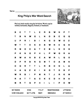 King Philip's War Word Search (Grades 4-5)