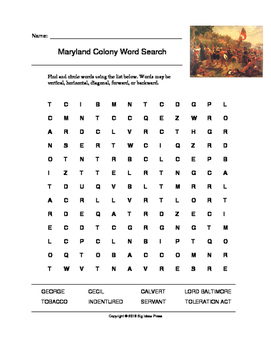 Maryland Colony Word Search (Grades 4-5)