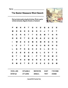 The Boston Massacre Word Search (Grades 4-5)