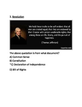Colonial America and Enlightenment Thinkers Test