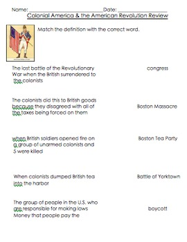 Colonial America and the American Revolution Test REVIEW