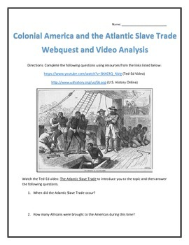 colonial america and the atlantic slave trade webquest and video analysis. Black Bedroom Furniture Sets. Home Design Ideas