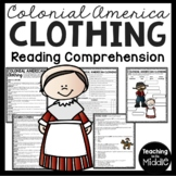 Colonial American Clothing Reading Comprehension Worksheet