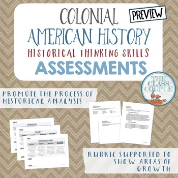Colonial American History Critical Thinking Skill Assessments