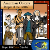 Colonial Americans 1700s Clip-Art Set! 10 Color and 10 BW! 20 Pieces!