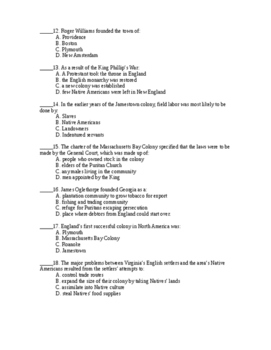 Colonial Beginnings Unit Test