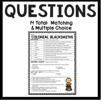 Colonial Blacksmiths Reading Comprehension Worksheet by ...