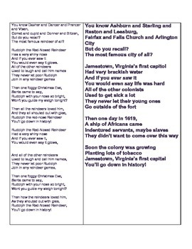 """Jamestown, Virginia's First Capitol"" Song to the tune of Rudolphe"