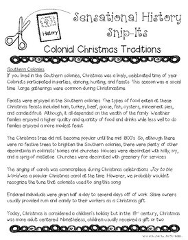 Colonial Christmas Traditions - Sensational History Snip-Its Series