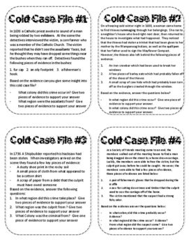Colonial Cold Case Files - 13 Colonies Interactive Task Cards:  NO PREP!