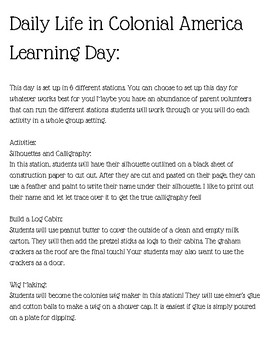 Colonial Daily Life Thematic Learning Day