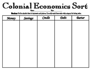 Colonial Economics Sort (VS.4d)