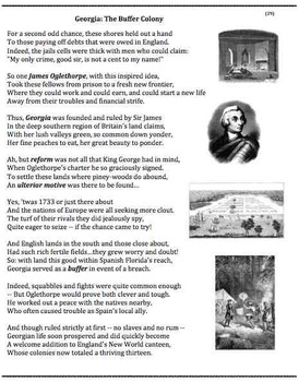 Colonial Georgia (29) - poem, worksheets, puzzle