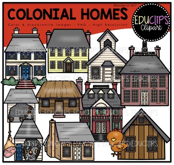 Colonial Homes Clip Art Bundle {Educlips Clipart}