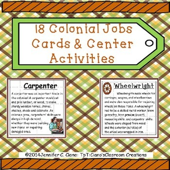 Colonial Jobs Cards