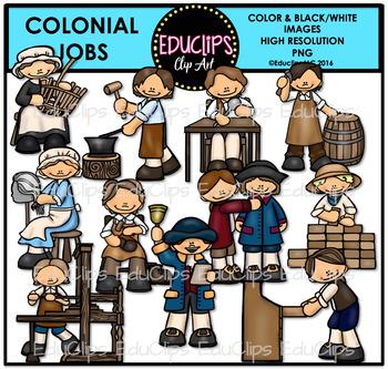 Colonial Jobs Clip Art Bundle {Educlips clipart}